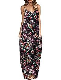 Lannister Fashion Damen Sundresses Lang Für Mollige Mit Floralem Print  Sommerkleider V-Ausschnitt Elegant Kleid 114a8b1718