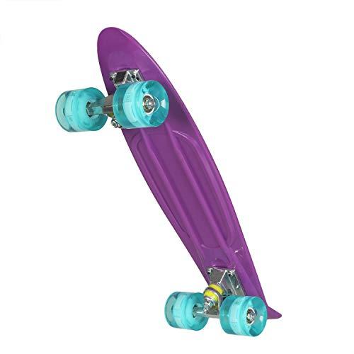 Uni-Wert Mini Cruiser Skateboard Retro Komplettboard mit LED Leuchtrollen, 55cm Vintage Skate Board mit Kunststoff Deck und blinkenden LED-Rollen, Cruiser-Board für Erwachsene Kinder Jungen Mädchen