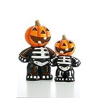 iN Halloween Ceramic LED Pumpkin Skeleton Lights for indoor - Batteries Included