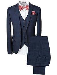 Slim Fit Schnitt Herren ein knopf 3-Teilig Anzug Kariert Design mit Weste +Fliege Hochzeit Party