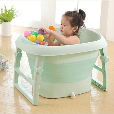 AIBAB Faltbar Badewanne Kind Erhöhen Sie Die Größe Badewanne Baby Spielpool Hinsetzen Halten Sie Die Temperatur Super Belastbar,Green