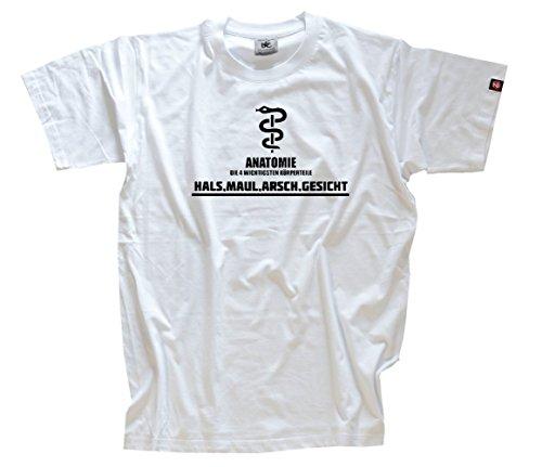 Anatomie 4 wichtige Koerperteile - HALS MAUL ARSCH GESICHT T-Shirt Weiss XXXL (Weißes T-shirt Arsch)