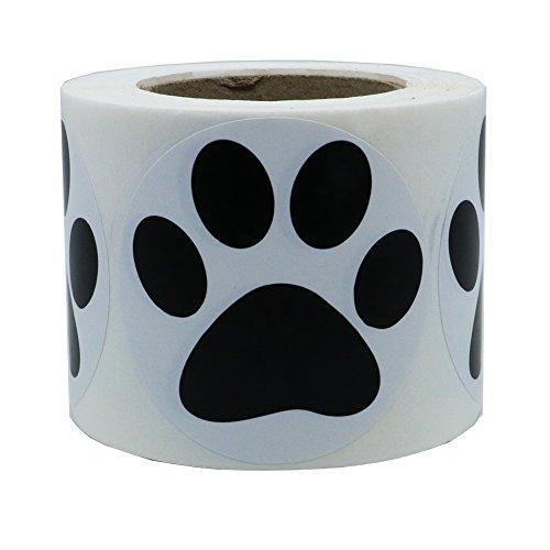 Hybsk - Pegatinas redondas de 5 cm, diseño de huellas de perro, color negro