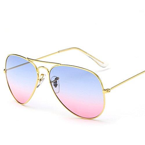 CHENFUI Vintage Spiegel Sonnenbrille Aviator Gradient Sonnenbrille Spiegel Objektiv Sonnenbrille