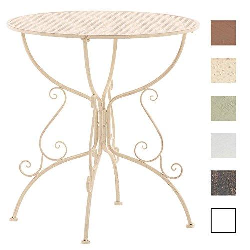 CLP Eisentisch Amanda im Jugendstil I Robuster Gartentisch mit kunstvoll verzierten Tischbeinen I erhältlich Antik Creme -