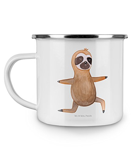 Mr. & Mrs. Panda Metalltasse, Becher, Emaille Tasse Faultier Yoga – Farbe Weiß