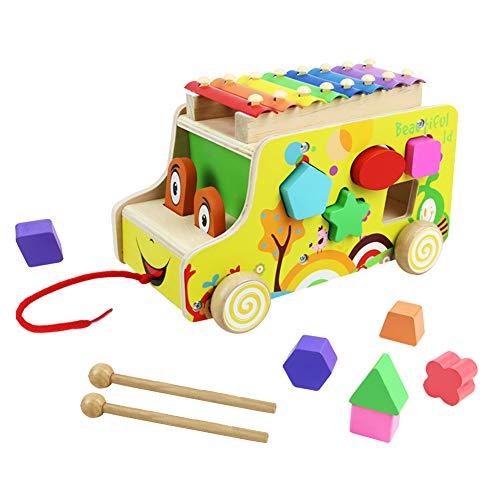 Xilofono Madera Infantil Instrumentos Musicales Infantiles Niños con Autobus de Juguete de Madera Juguete Musical Bebe Juguete Educativo Regalo Niños 18 Meses