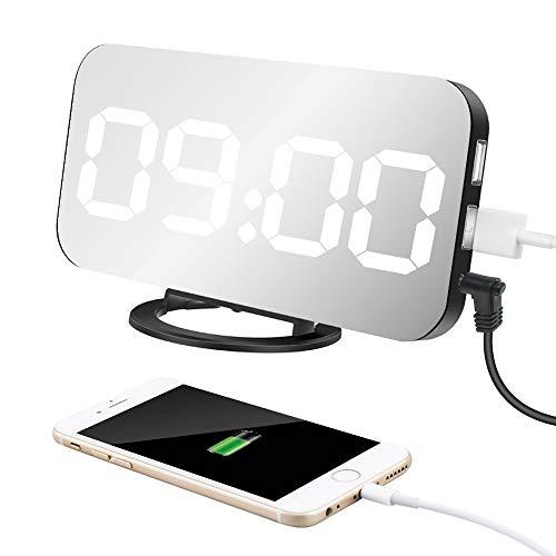 """Sveglia Digitale LED, Sveglia Elettronica, Display LED da 6,5"""", con Funzione di Snooze/Luminosità Regolabile/Superficie a specchio, 2 porte di ricarica USB per la decorazione del Soggiorno"""