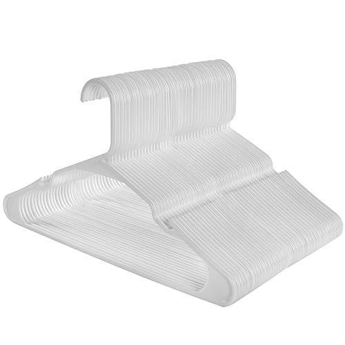 SONGMICS Kleiderbügel, 50 Stück, Premium-Qualität, langlebig und dünn, 0,6 cm, platzsparend, starker hochwertiger Kunststoff für gute Belastbarkeit, für Erwachsene, 41,5 cm breit, Weiß CRP03W-50