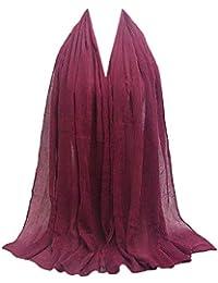 4fefe82d78ff Rovinci La Mode Adulte Les Femmes Plissée Ridé Coton et Lin Châle Couleur  Unie Doux Musulman