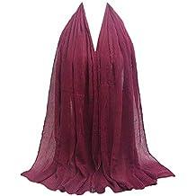 Rovinci La Mode Adulte Les Femmes Plissée Ridé Coton et Lin Châle Couleur  Unie Doux Musulman 9b5ae421329