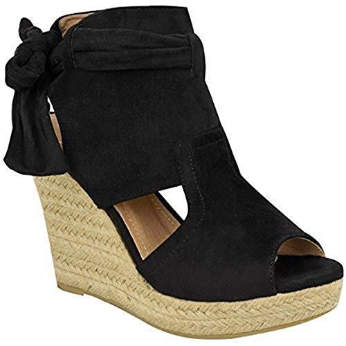 b47126d5b8 Sandalias con cuña alta y lazo en tobillo para mujer verano plataforma  talla - Negro Ante Artificial, 37