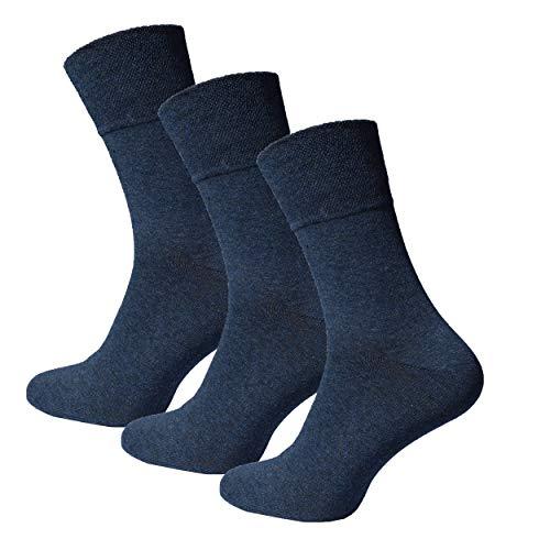Premium Socks 9 Paar Extra Weite Herren Diabetikersocken Socken ohne Gummibund und ohne Naht mit Komfortbund Softrand in Blau 43-46 (Extra Für Männer Weite Socken)