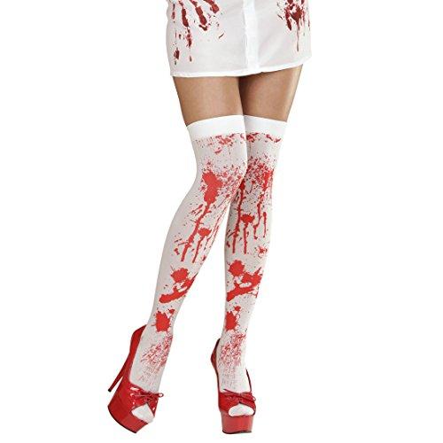 NET TOYS Blutige Overknees Halloween Damen Strümpfe Zombie Überkniestrümpfe Damenstrümpfe Überknie Halterlose Nylonstrümpfe Horror Kostüm Accessoire