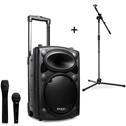 Ibiza Port8VHF-BT Sistema Audio PA Portatile Con Subwoofer E Bluetooth + Asta per Microfono (400 Watt, Ingressi USB SD MP3 Con Funzione Recording, 2 Microfoni, Batteria Integrata, Telecomando) - Nero