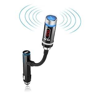 lecteur mp3 aukey transmetteur fm bluetooth pour voiture lecteur mp3 avec haut parleur et port. Black Bedroom Furniture Sets. Home Design Ideas