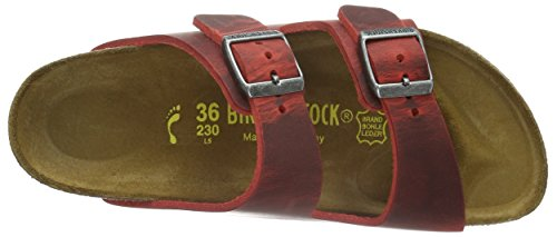 Birkenstock Arizona Leder, Mules mixte adulte Rouge - Rouge