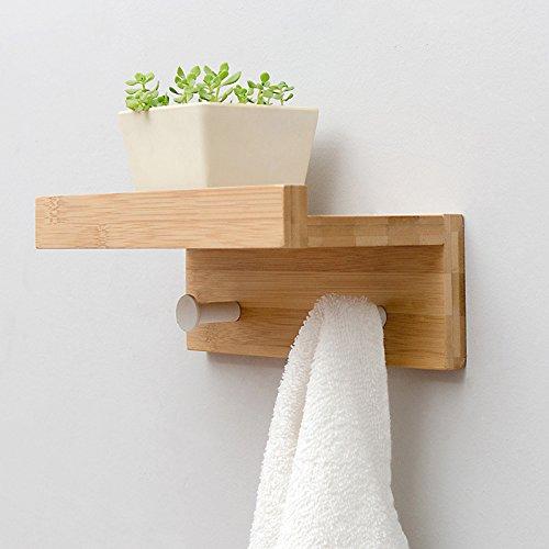 JJJJD Multifunktions Wohnzimmer Wand Holz Regal Kreative Partition Badezimmer Handtuchhalter Dekorative Rahmen Kleidung Haken Schlüssel Hängen (Farbe: Holz Farbe, Schwarz, Weiß) -