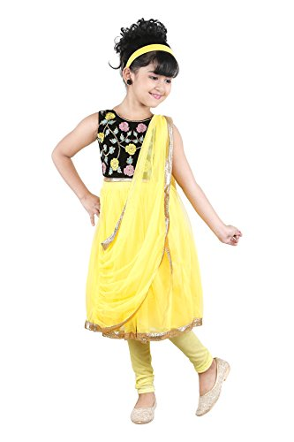 JBN Creation Girls Yellow Kurti And Leggings Set With Floral Embroidery On...