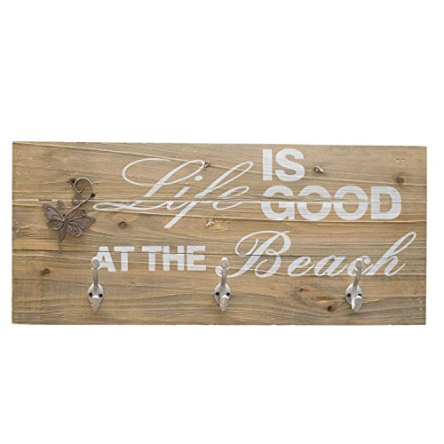 UMOI Vintage Wandgarderobe Home Shabby Chic Stil 100% massives Holz mit massiven Haken (Life is Good)