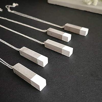 Collier en Argent 925 avec Pendentif Rectangle Gris et Blanc en Béton, Chaîne de 60cm, Cadeau pour Architecte