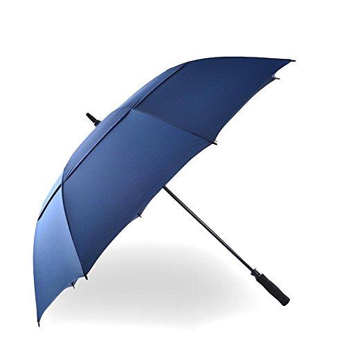 BBSLT Maschio lungo manico bar business ombrello doppio strato golf ombrello, ombrello resistente al vento forte super automatica, robusta e portatile , deep blue