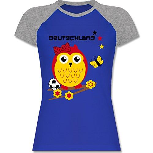 EM 2016 Frankreich Deutschland Eule zweifarbiges Baseballshirt / Raglan  TShirt für Damen Royalblau/Grau meliert
