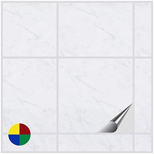 FoLIESEN Fliesenaufkleber 15x15 cm - Fliesen-Folie Bad - Klebefolie Küche - 20 Klebefliesen, Dekor White Marble - White Vinyl Top Küche