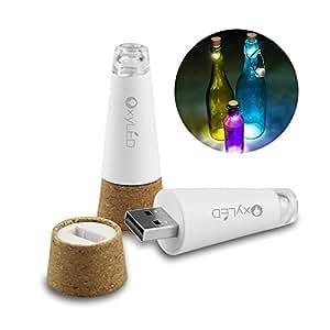 OxyLED 2er Set LED Kork Tischlampe USB Wiederaufladbar Flaschenbeleuchtung Deko für Party, Garten, Bar, Weihnachten