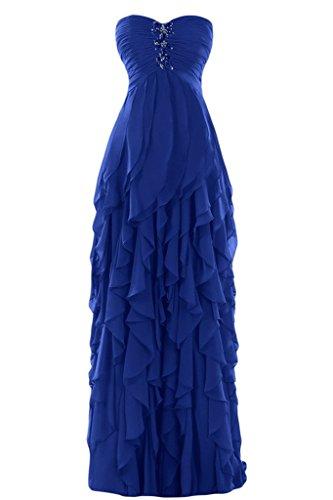 Sunvary di una linea Sweetheart Chiffon Ruffles Evening Dresses Homecoming Gowns Royal Blue