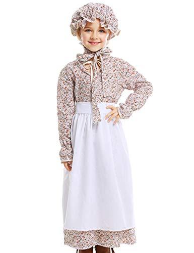 A&J DESIGN Mädchen Pionier Kostüme Bauer Kleid (Braun, S/110-125 (Bauer Kostüm Kleinkind)