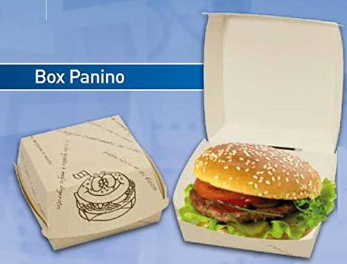 BOX PANINO GRANDE 100PZ Take Away Cartonicino Asporto Contenitori Porta Hamburger Imballaggio Fast Food