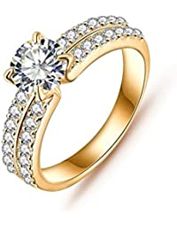 Daesar Joyería Anillo Compromiso de Oro Plata Mujer, Brillantes Rialto con Diamantes Imitación Pavé Anillo de Eternidad