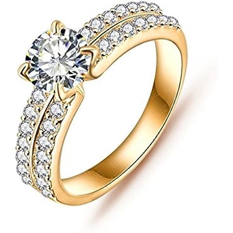 Daesar Joyería Anillo Compromiso de Oro Plata Mujer, Brillantes Rialto con Diamantes Imitación Pavé Anillo de