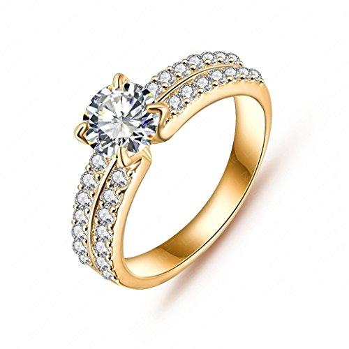 Daesar Joyería Anillo Compromiso de Oro Mujer, Brillantes Rialto con Diamantes Imitación Pavé Anillo de Eternidad, Tamaño 12