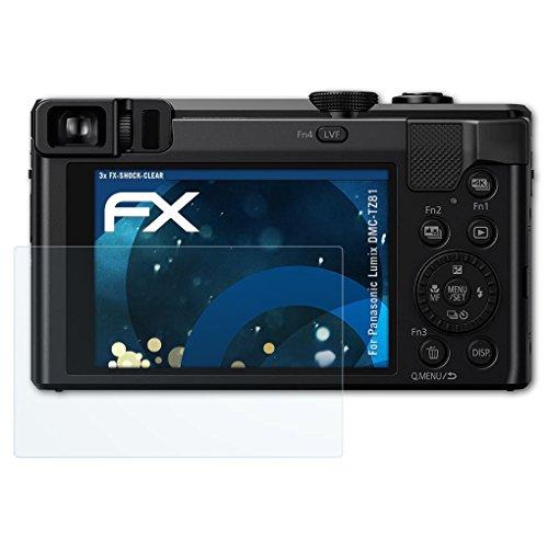 atFoliX Schutzfolie kompatibel mit Panasonic Lumix DMC-TZ81 Panzerfolie, ultraklare und stoßdämpfende FX Folie (3X) Panasonic Display