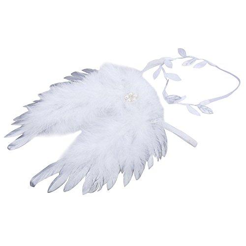 domybest Neugeborene Unisex Fotografie Requisiten, Baby Mädchen Jungen Feder Engel Flügel Stil Outfit mit Blättern Haarband passgenau (Kinder Outfits Engel Für)