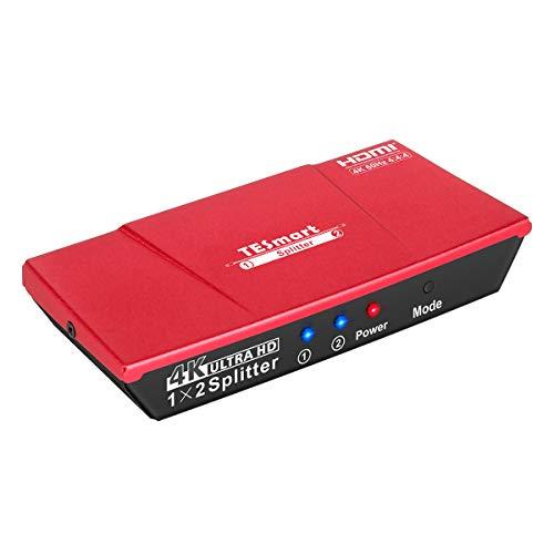 TESmart 1x2 HDMI 4K@60Hz Splitter HDMI Stromversorgung 1 in 2 Out HDMI Splitter Dual Monitor Duplizierung von Videos&Audio für Ultra HD 2160P / HDCP / 3D und HDR/HD STB (Ein Eingang auf zwei Ausgänge) (10 In 1 Hdmi-splitter)