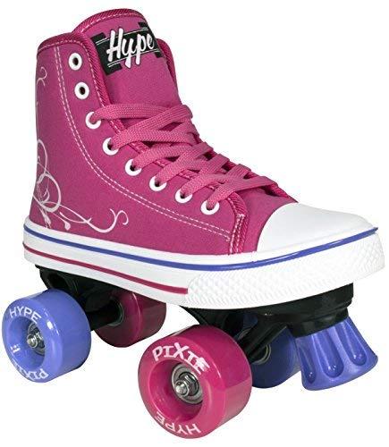 Lenexa Roller Skates für Mädchen Pixie Kid Quad Roller Skates mit hohen Spitzenschuh-Art für Indoor / Outdoor Skating   Langlebig, einfach zu Skate, für Kinder gemacht 3 Rosa