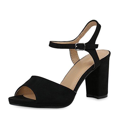 SCARPE VITA Damen Pumps Sandaletten Riemchensandaletten Blockabsatz Party Schuhe Wildleder-Optik Absatzschuhe Elegante 156505 Schwarz Schwarz 36