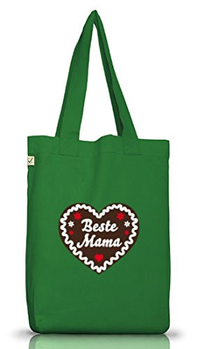 Shirtstreet24, Muttertag - Lebkuchenherz Beste Mama, Jutebeutel Stoff Tasche Earth Positive Moss Green