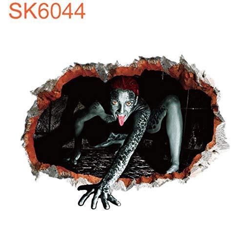 3D Wandaufkleber 3D Ghost Wandtattoos Dekor Abnehmbare Horror Teufel Wandaufkleber Halloween Party Home Wandkunst Wanddekor, 45X60 CM ()