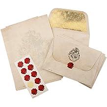 Harry Potter Hogwarts Briefpapier-Set, 20 Blatt A5-Notizpapier, 10 Briefumschläge mit Hogwarts Wappen, 10 Wachssiegel-Aufkleber