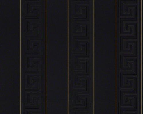 Preisvergleich Produktbild Versace Designer Barock Tapete Home Collection 935244 Jugendstil Vliestapete Vlies Tapete Nadelstreifen Schwarz