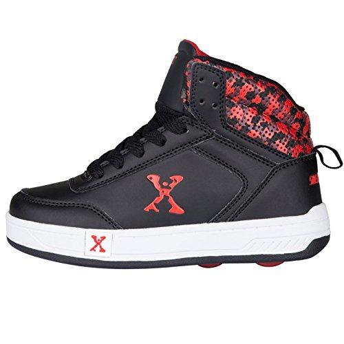 Sidewalk Sport Kinder Jungen Hi Top Schuhe Mit Rollen Heelys Rollschuhe Black/Red