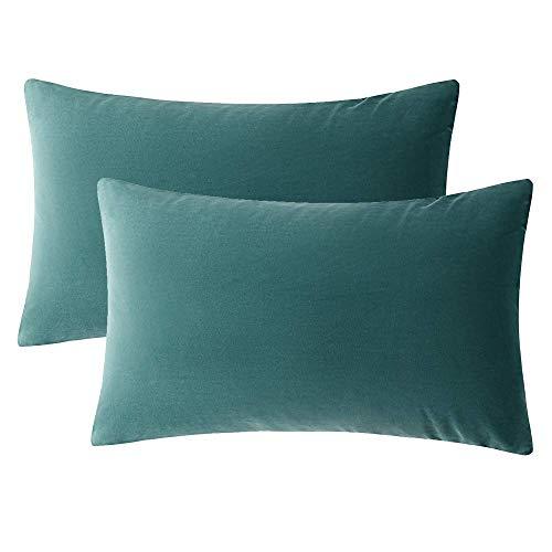 Gspirit 2 pack velluto morbido soild quadrato cuscino decorativo caso federa per cuscino 30x50 cm