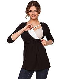 Happy Mama Premamá. Top Camiseta de lactancia efecto 2 en 1 - para mujer - 372p