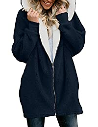 FIYOTE Womens Solid Oversized Zipper Hooded Fluffy Cardigan Coat Outwear with Pocket