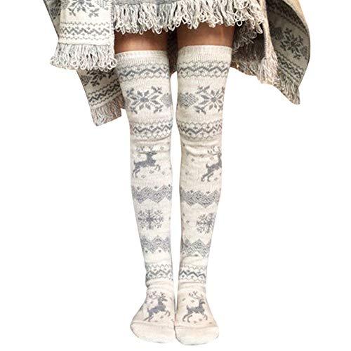 Huaheng Frauen-Weihnachtsgestrickte Strümpfe verdickten Schenkel hoch über Knie-Langen Schneeflocke-Elch-Muster-Socken -