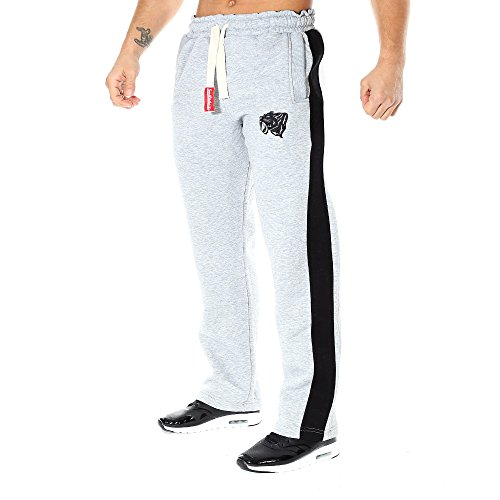 SMILODOX Jogginghose Herren | Trainingshose für Sport Fitness Gym Training & Freizeit | Sporthose - Jogger Pants - Sweatpants Hosen - Freizeithose Lang, Farbe:Grau/Schwarz, Größe:M